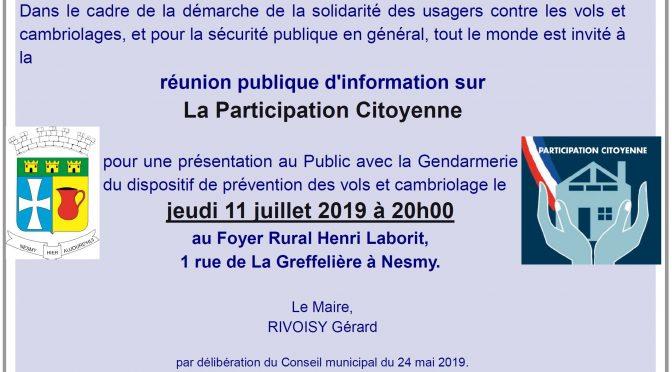 Réunion publique Participation Citoyenne le 11 juillet 2019
